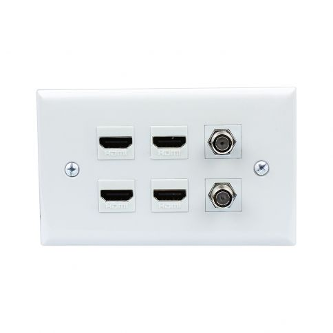 combination 4 port hdmi and 2 port tv f type decorative outlet covers - Decorative Outlet Covers
