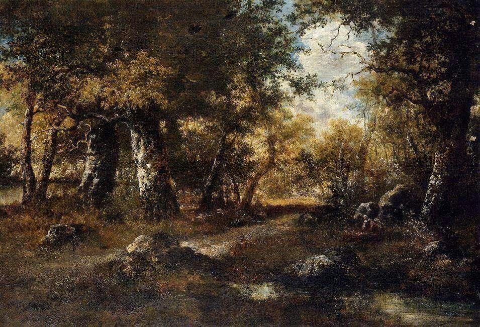 Narcisse Diaz de la Pena (French, 1807-1876), Nel bosco, olio su tela. Pittore spagnolo affiliato alla scuola di Barbizon e allievo di Theodore Rousseau.