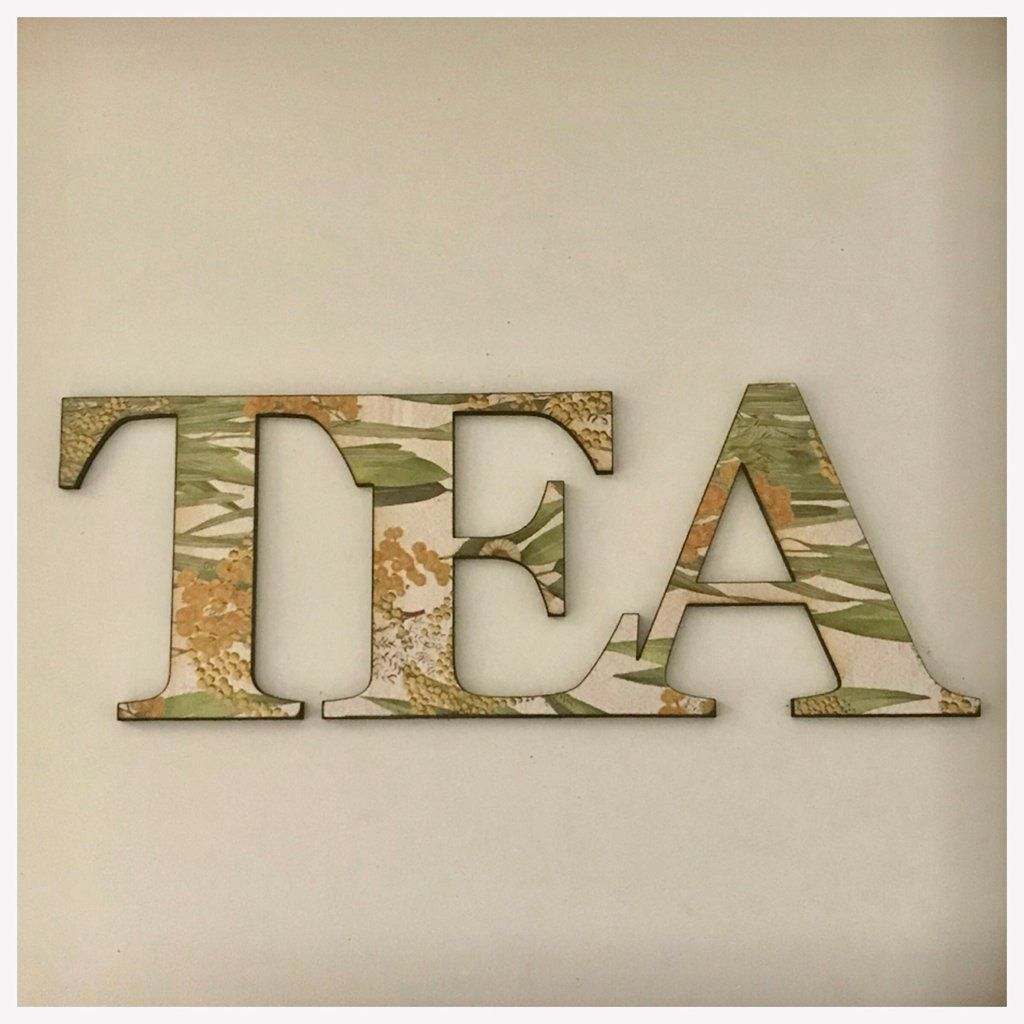 Tea word cafe wooden aussie floral wall art country unique handmade