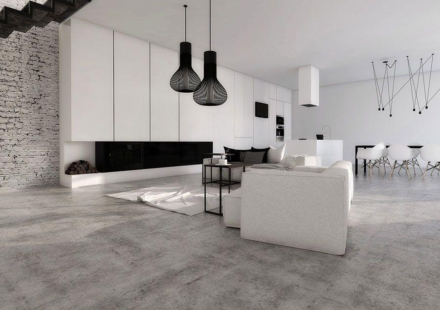 Soggiorno Minimal ~ Soggiorno bianco dal design moderno 20 arredare living