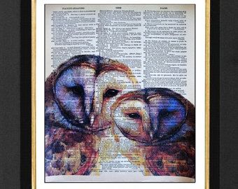 barn owl painting on newspaper from etsy