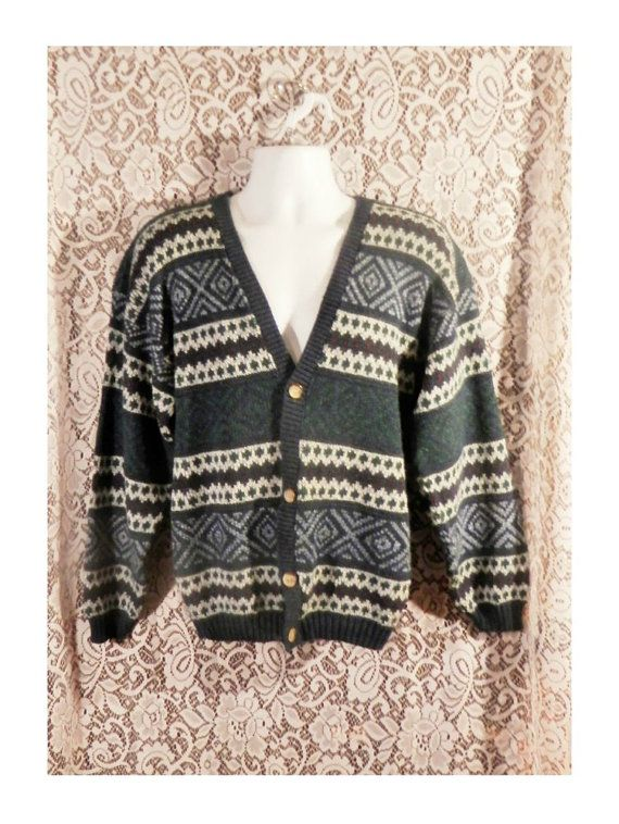 mens vintage sweater grandpa sweater mens cardigan by