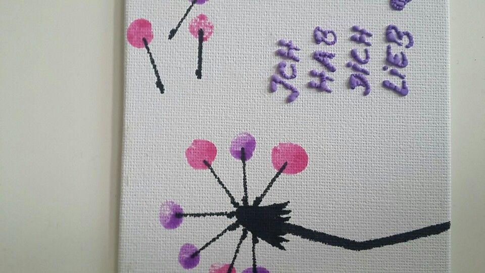 Pusteblume auf Leinwand. Die pollen mittels Fingerdruck und Spruch mit Plusterfarbe gestaltet. Super Muttertagsgeschenk.