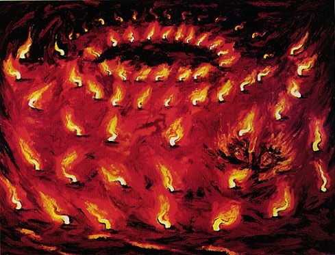 'Painting of the Precious Fires' (1983) by Italian artist Enzo Cucchi (b.1949).  Oil on canvas, 9 ft 9.375 x 12 ft 9.5 in. via USC