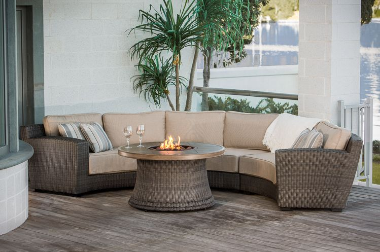 SanRafael Outdoor Curved Sectional With Firepit   Perfect Conversation Set!
