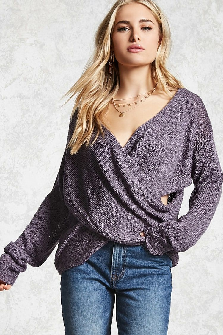 70627d79074 Forever 21 Contemporary - A lightweight knit sweater featuring a crossover  wrap design