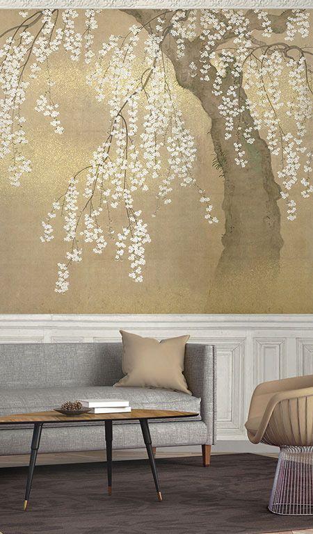 Papier Peint Japonais Cerisier En Fleurs Mural Wallpaper