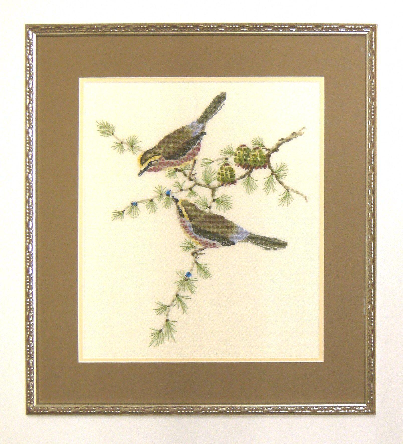 broderie oiseaux double passe partout chocolat moulure. Black Bedroom Furniture Sets. Home Design Ideas