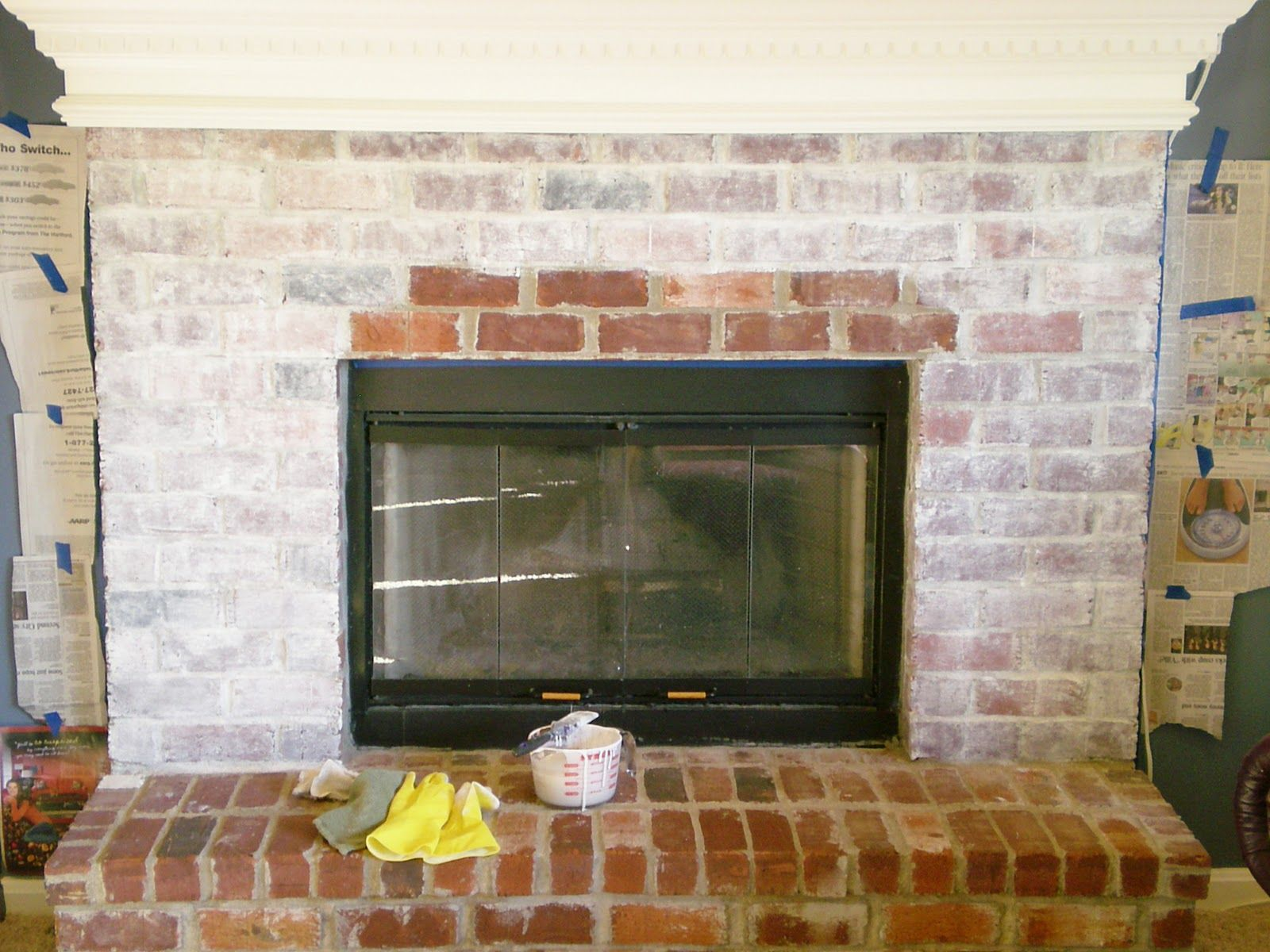 how to whitewash White wash brick, Brick fireplace