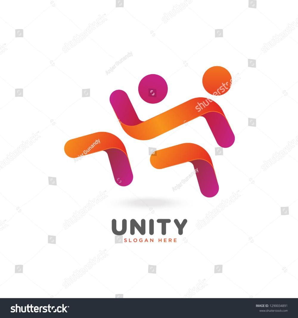 Colorful Smooth Gradient Unity Logo People Social Vector Eps 10 Unity Logo Unity Logos