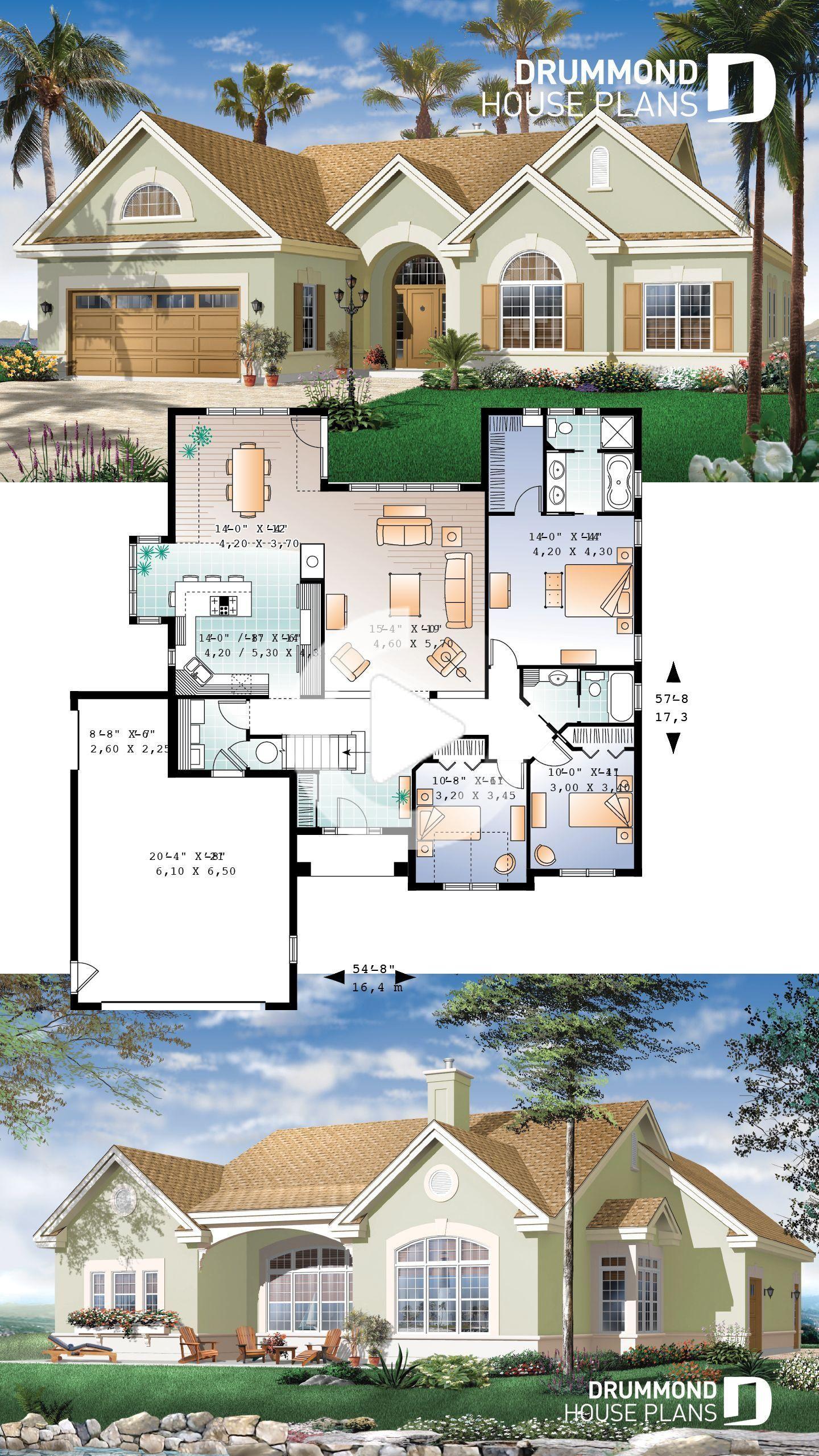 Plan De Maison De Style Sudiste 3 Chambres En 2020 Plans De Maison Bungalow Plan Maison Construction Maison Moderne