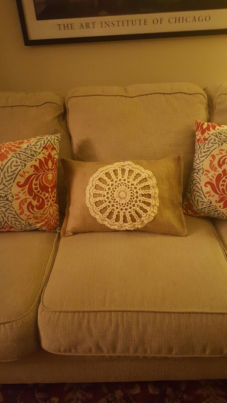 Remarkable Burlap Pillow Made From Old Rectangular Couch Pillow Burlap Caraccident5 Cool Chair Designs And Ideas Caraccident5Info
