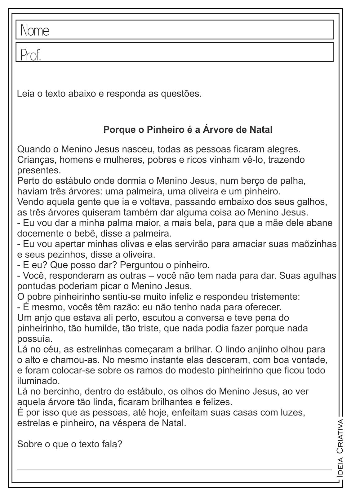 Top Atividades Educativas Natal Interpretação e Produção de Texto  PS18