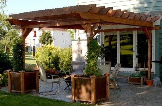 Small backyard patio design with white pergola and black rattan chair  cushion sets Having backyard patio pergola in your home will give you more  experience - Pergola For Over The Patio By Renee.lean HOME-Outdoor Pinterest