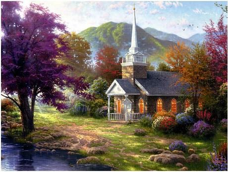 Image result for paintings of beautiful church