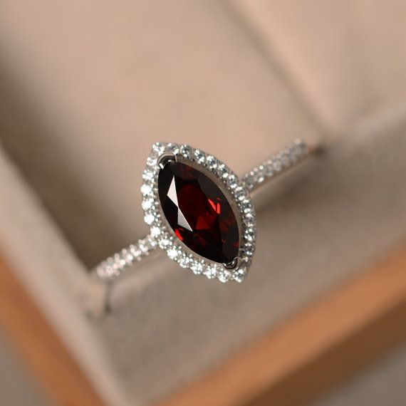 Art deco ring Garnet ring Gemstione ring Antique ring Red stone ring Halo ring 925 silver ring Pear ring Promise ring silver