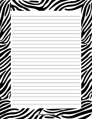 image regarding Free Printable Stationery Black and White named Zebra Print Stationery Borders (for webpages) No cost