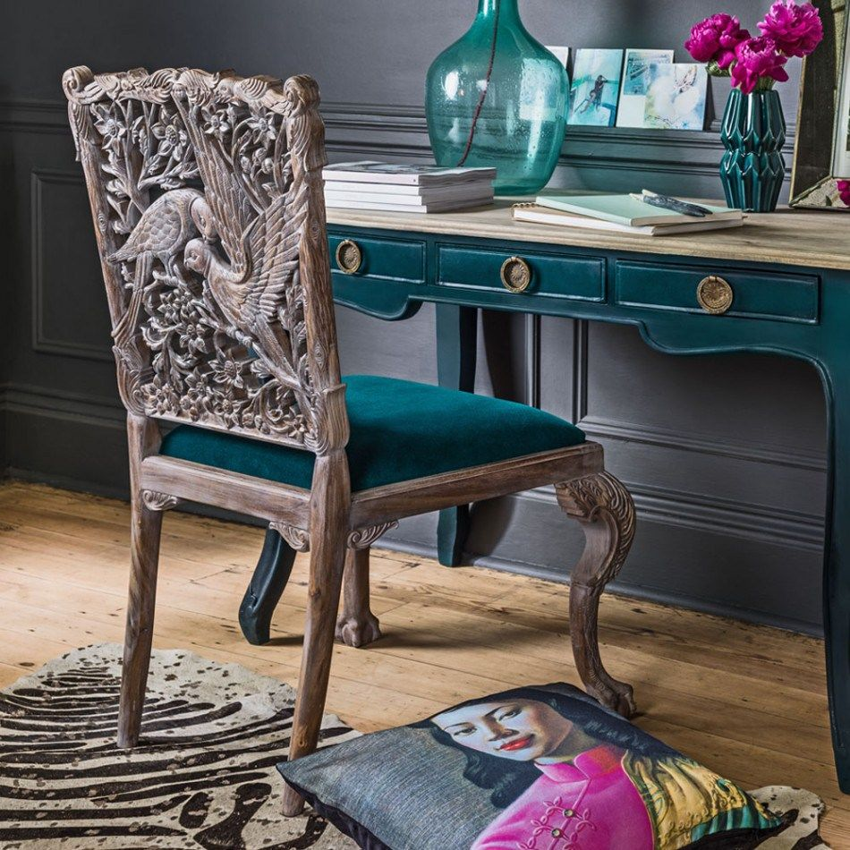 Inspired By Nature - Bringing the Outdoors Inside |  A statement piece for the home, the Parrot Chair is one to be admired, and kept as a future antique. #chair #homedecor #velvet #chairdesign #grahamandgreen #homedecor #parrotchair #interiors #interiordesign #interiordecor #homeinspo #teal