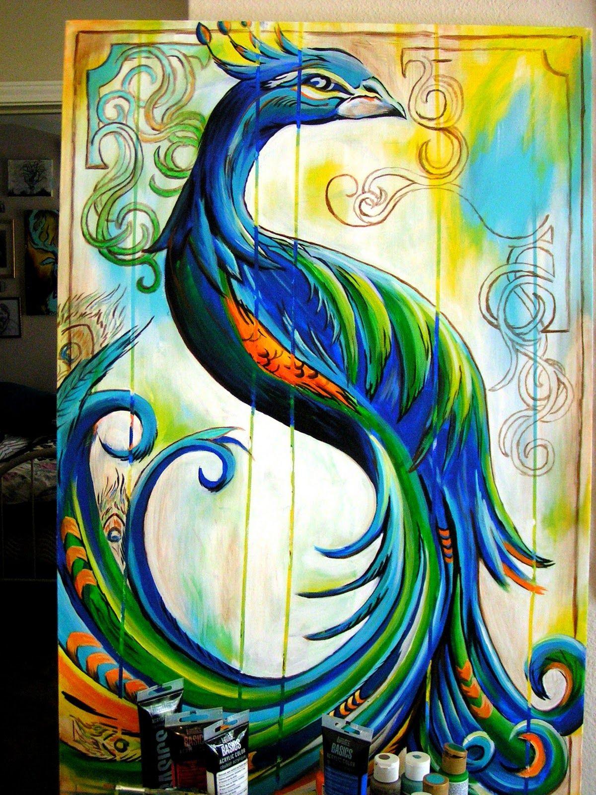 easy acrylic painting ideas Google Search … Peacock