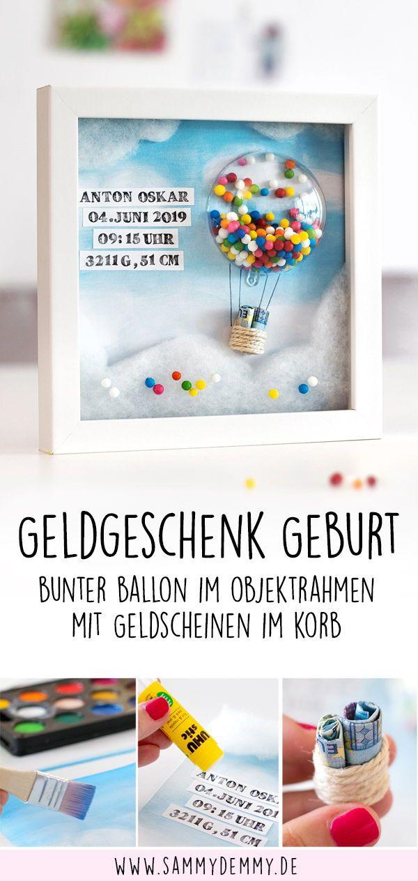 Geldgeschenk im Bilderrahmen: Geldgeschenk zur Geburt #weihnachtsgeschenkebasteln