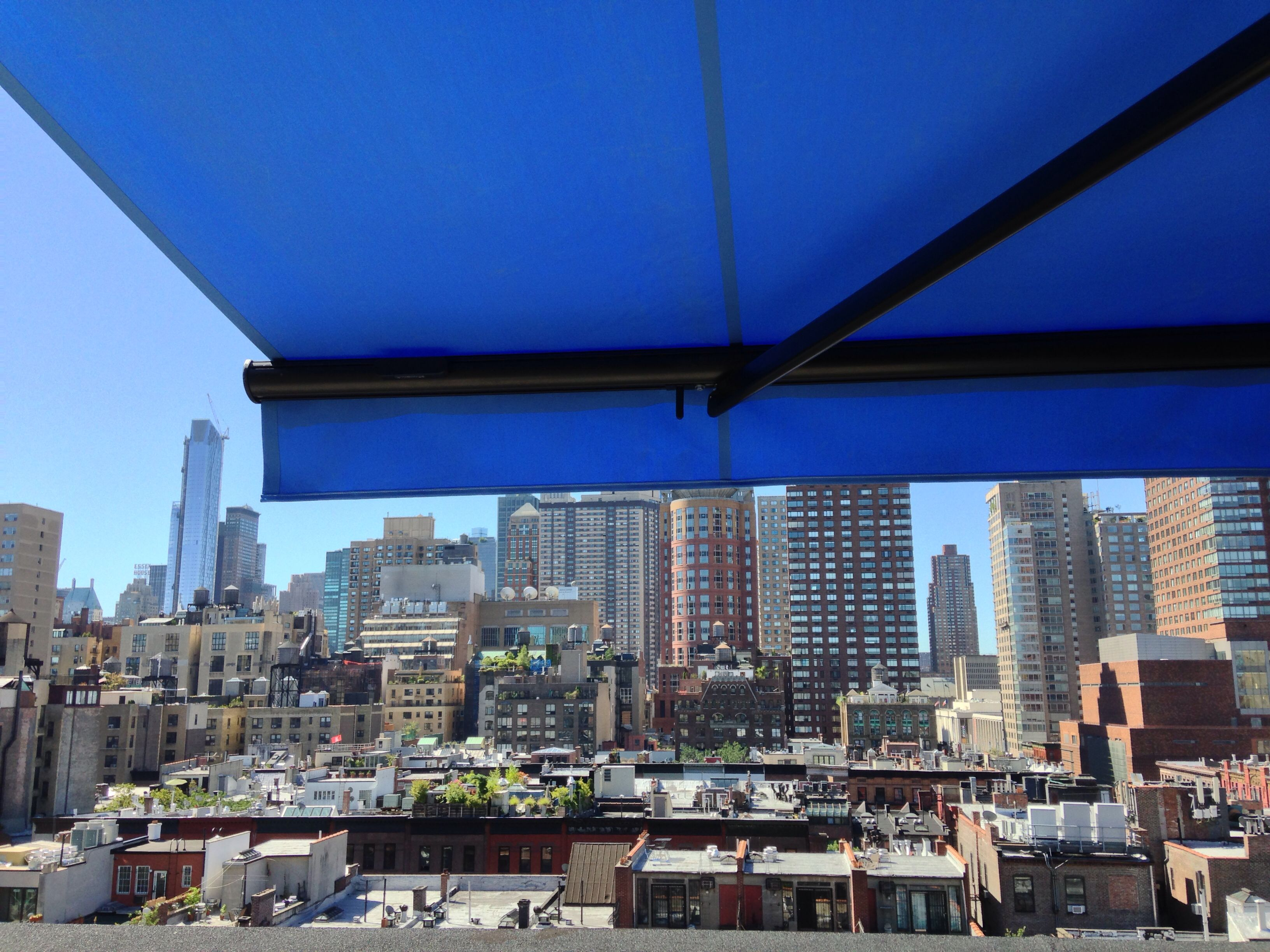 Retractable Awning In Nyc Penthouse By Breslow Home Design Www Breslow Com Nyc Penthouse House Design Retractable Awning