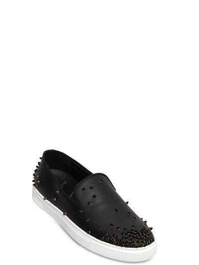 LOUIS LEEMAN - STUDDED LEATHER SLIP-ON SNEAKERS