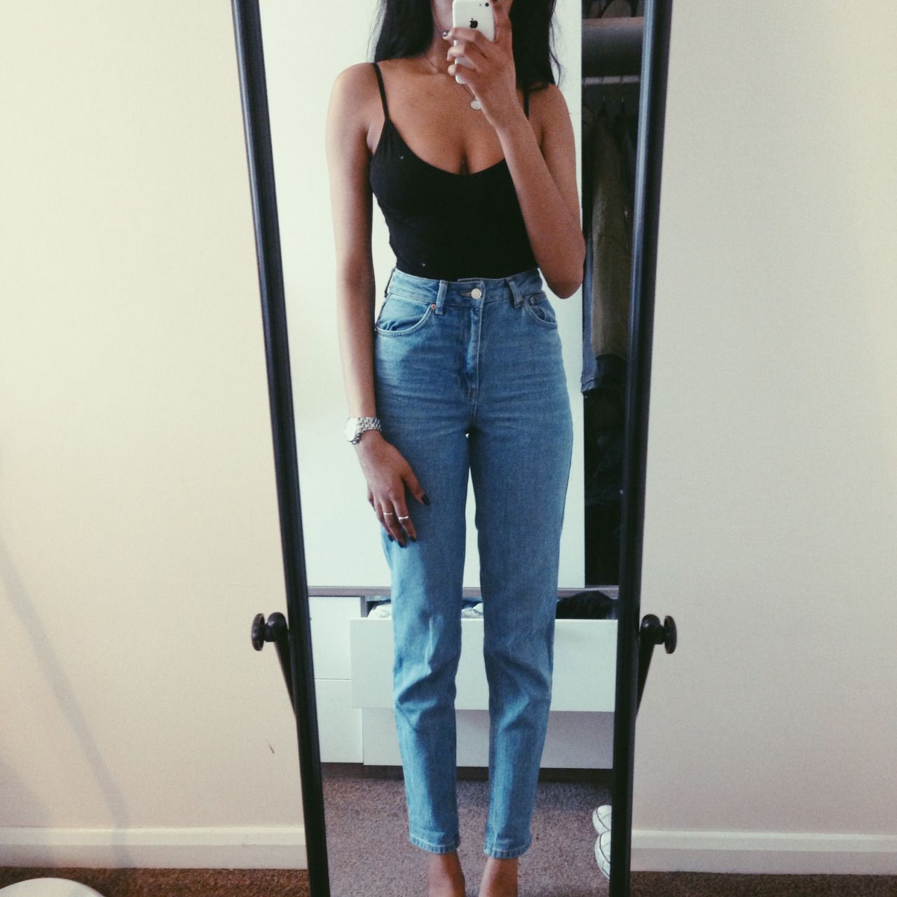 d683a485f4 topshop moto mom jeans   asos cami body outfit idea  vintage style high  waisted mom jeans with a camisole bodysuit top