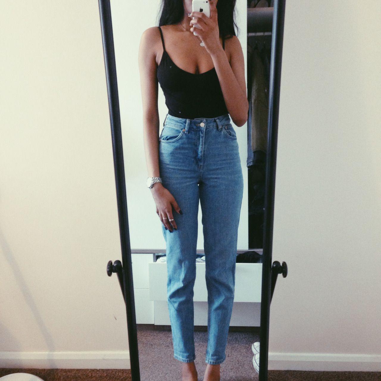 topshop moto mom jeans asos cami body outfit idea. Black Bedroom Furniture Sets. Home Design Ideas