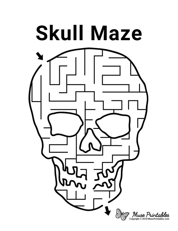 Free printable skull maze. Download it at https