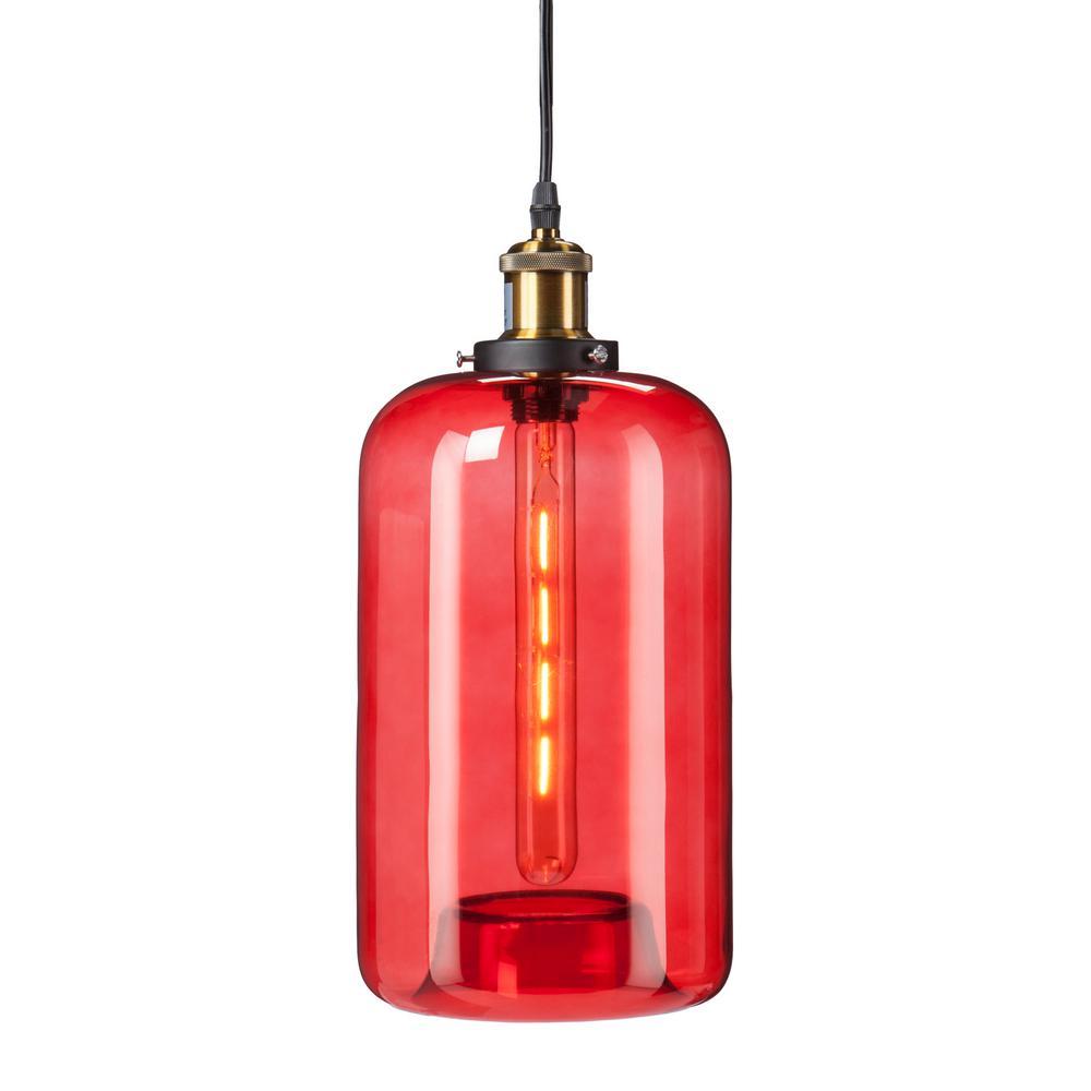 Heather 1 Light Red Colored Glass Mini Pendant Lamp Hd88333