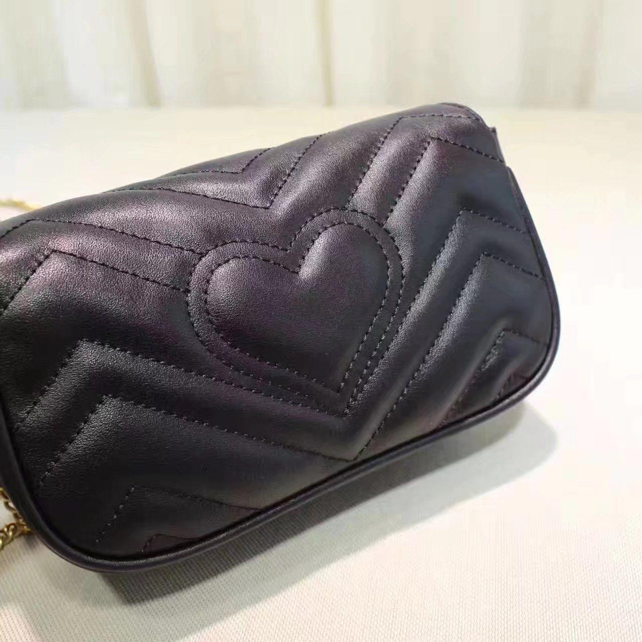 07a95e35675 Replica GUCCI GG Marmont matelasse leather super mini bag Black ID 31675