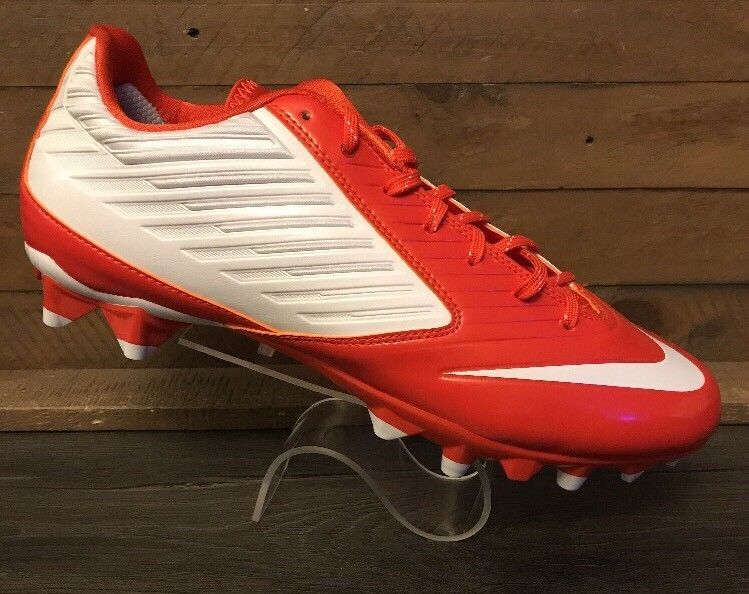 Nike Size 12.5 Football Cleats Vapor Speed Low TD Molded White Orange  643152-118