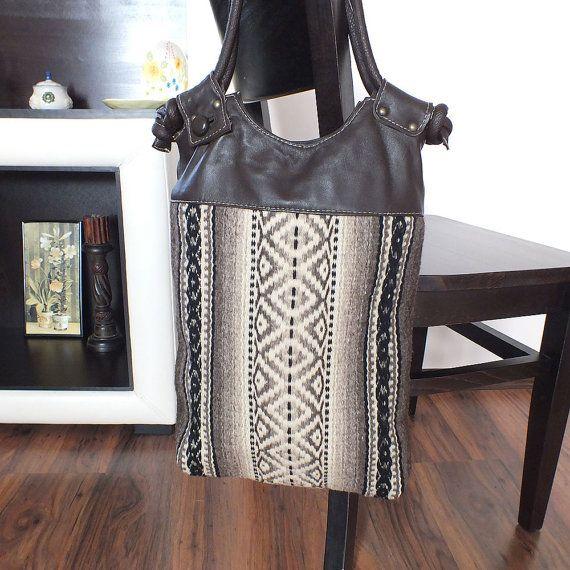 Tribal Handmade Las Leather Handbag Tote Bag By Rugsnbags On Etsy Unique Handbags Pinterest