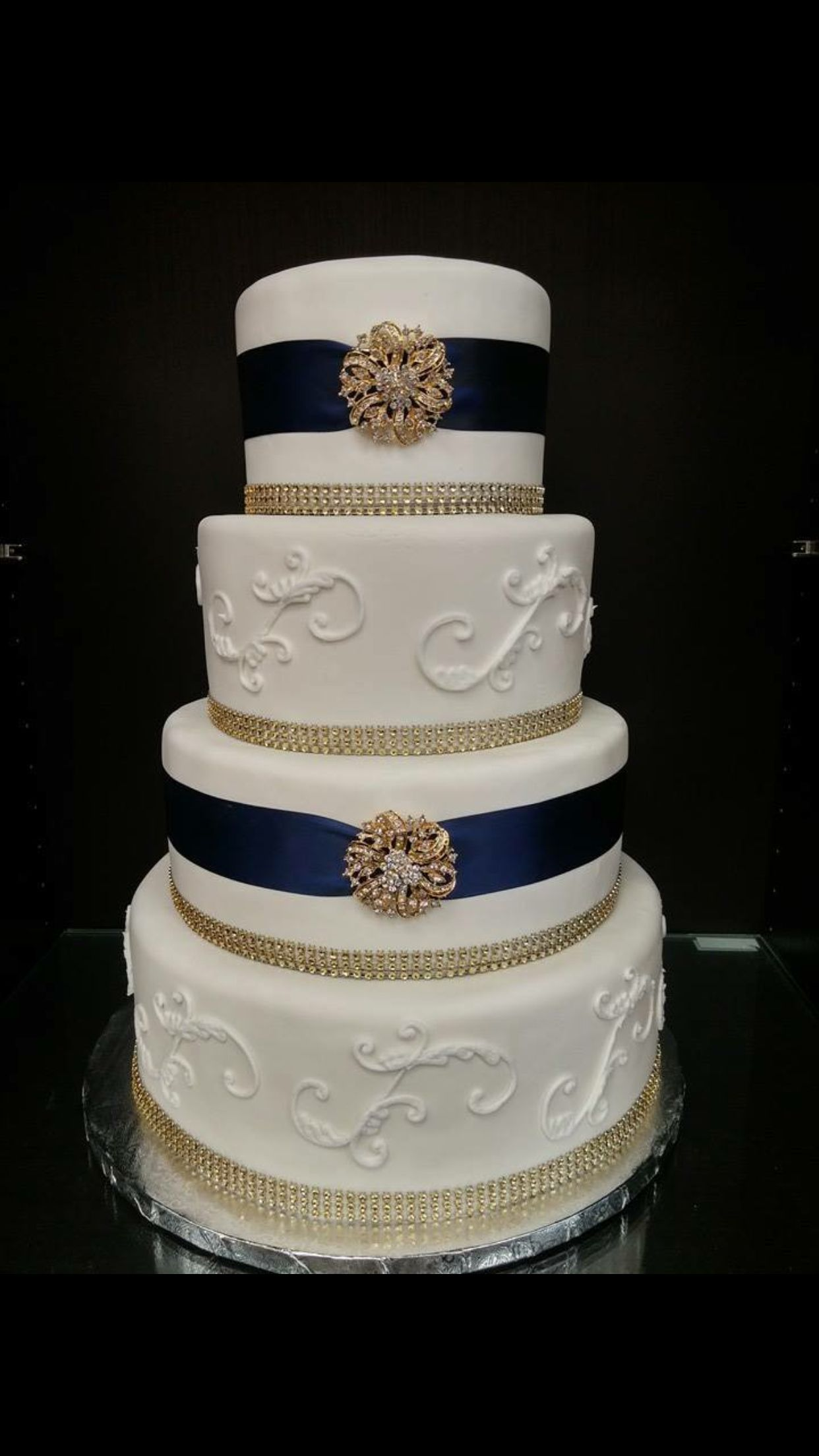 Blue and gold wedding cake wedding cake pictures gold