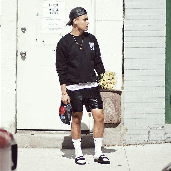 Snapback Black Sweater White Mesh Top Black Leather