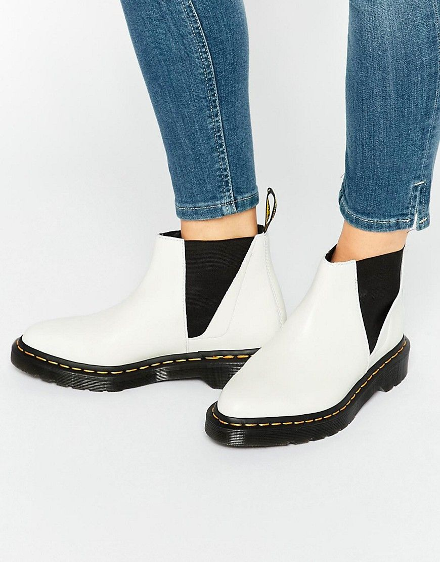Dr Martens Bianca White Chelsea Boots at asos.com