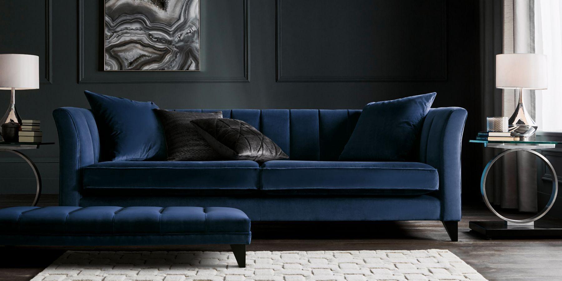 Next Gatsby Four Seater Sofa In Admiral Blue Velvet Sofa Sofa Next Blue Sofa