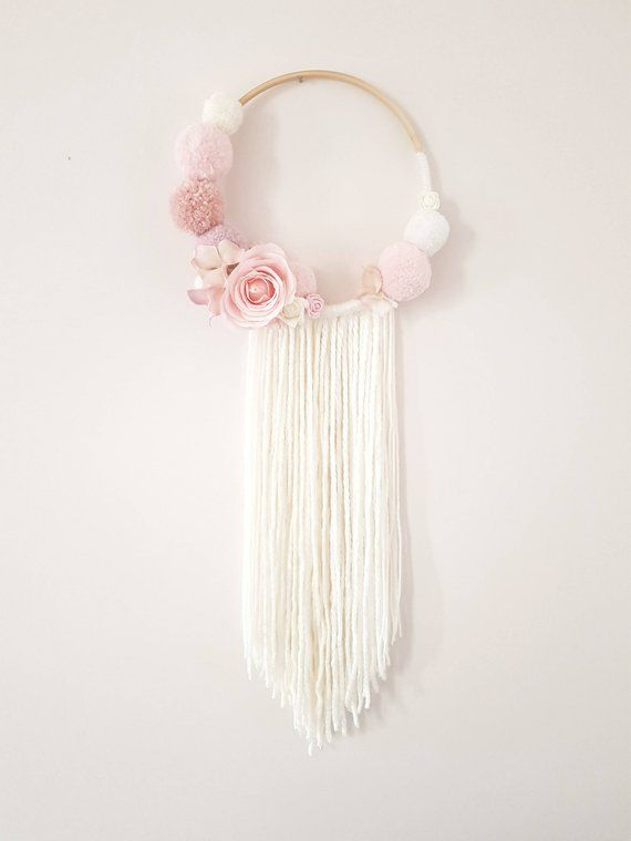 Photo of Pompom Floral Wall Hanging, Dream catcher, Nursery  Decor, Baby Shower Decorations, Girl Nursery