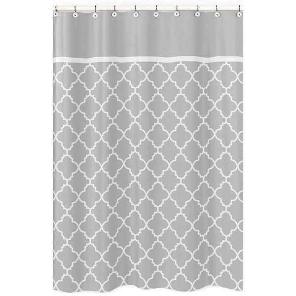 Sweet Jojo Designs Grey White Trellis Shower Curtain By Sweet