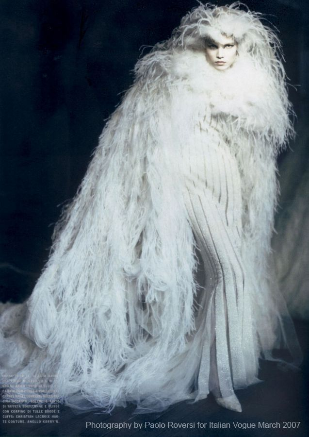 Paolo Roversi (cape) (beautiful, but I do not believe in real fur in fashion, even though these are feathers)