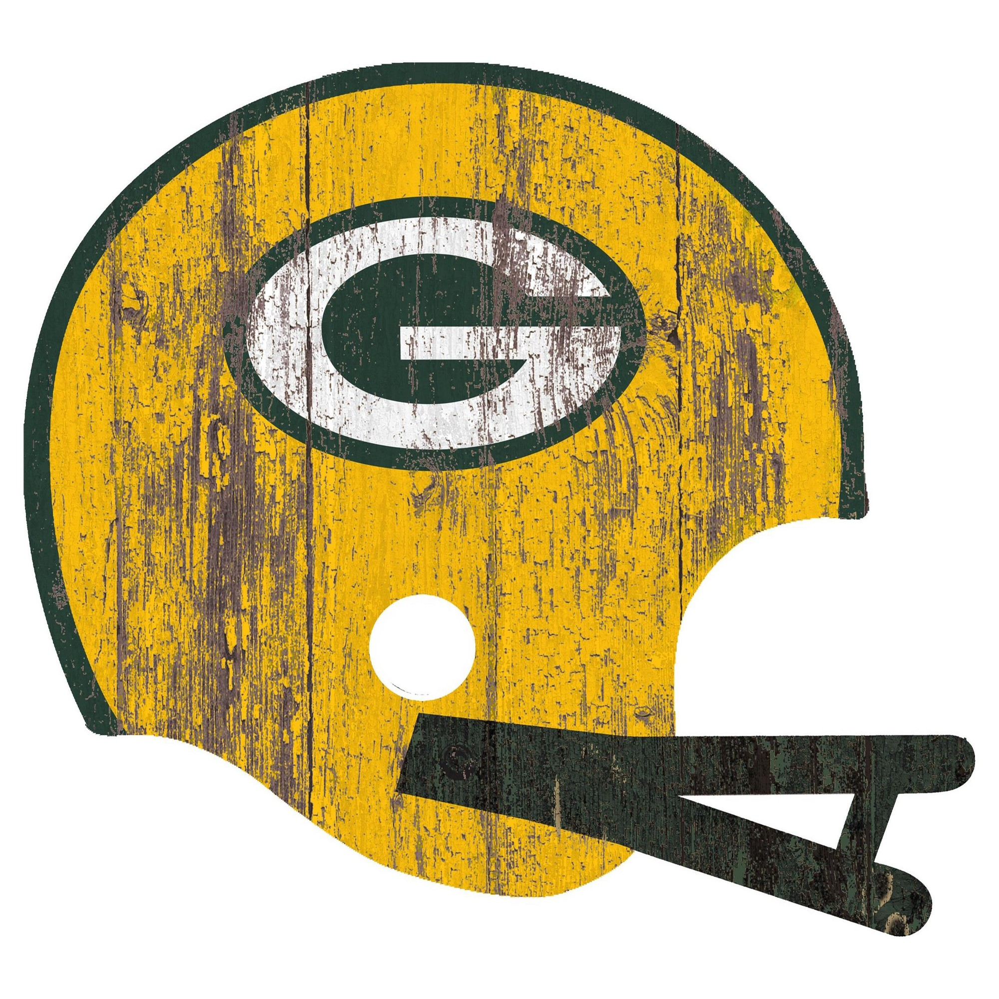 nfl green bay packers fan creations distressed helmet cutout sign