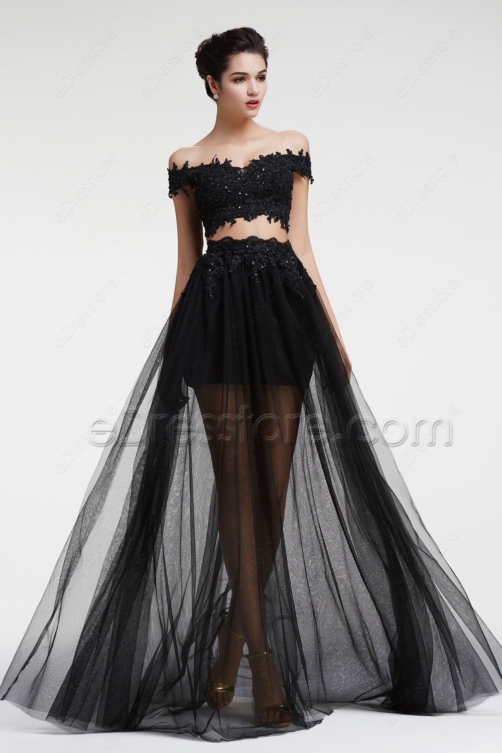 Black Lace Beaded Two Piece Prom Dresses Long Tulle