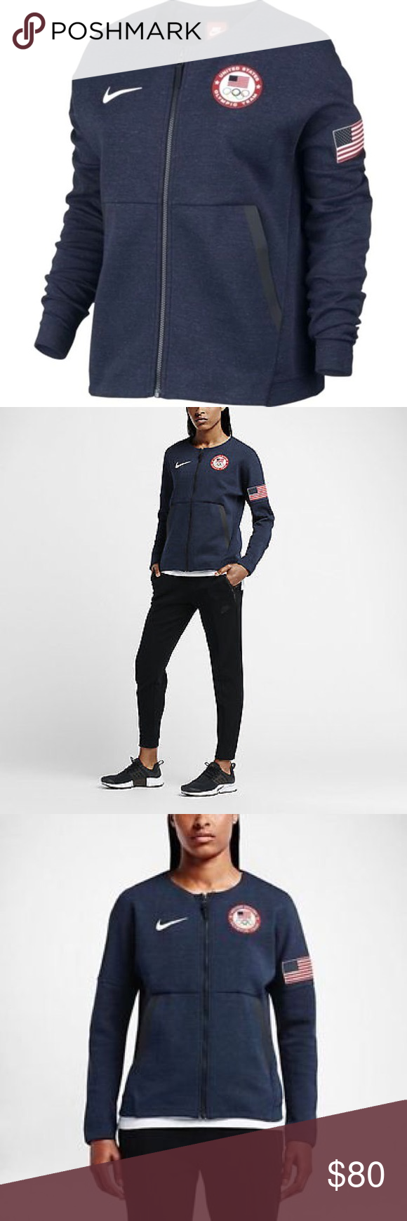 Nike Tech Fleece Blue Team USA Rio Olympics Jacket (With