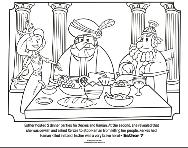 esther dinner party bible coloring pages whats in the bible
