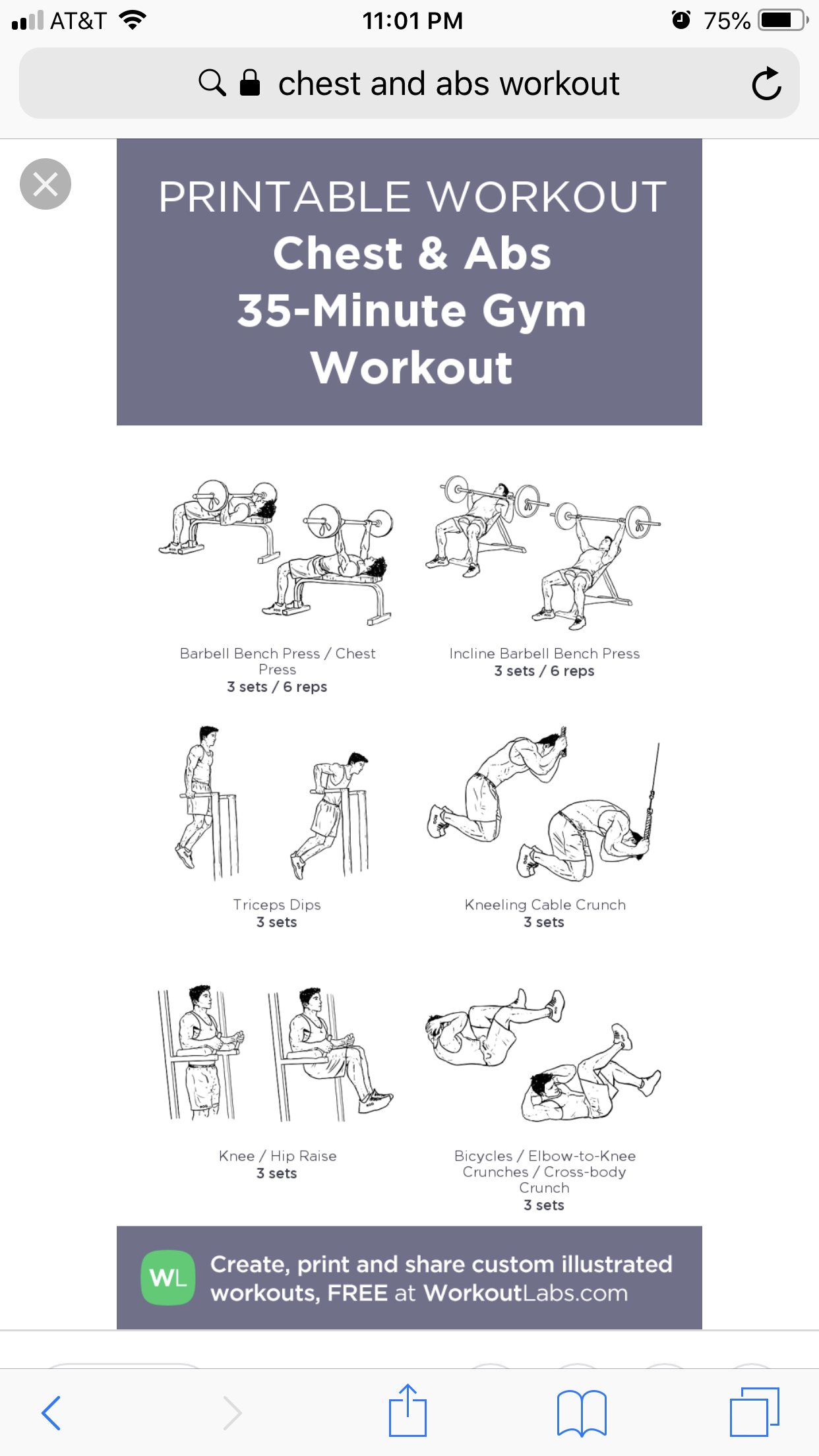 Chest and ab workout Barbell workout, Abs workout