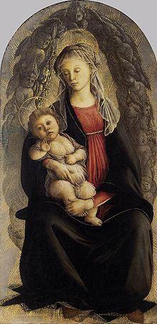 Madonna in Glory with Seraphim - Sandro Botticelli.  1469-70.  Tempera on panel.  120 x 65 cm.  Galleria degli Uffizi, Florence, Italy.