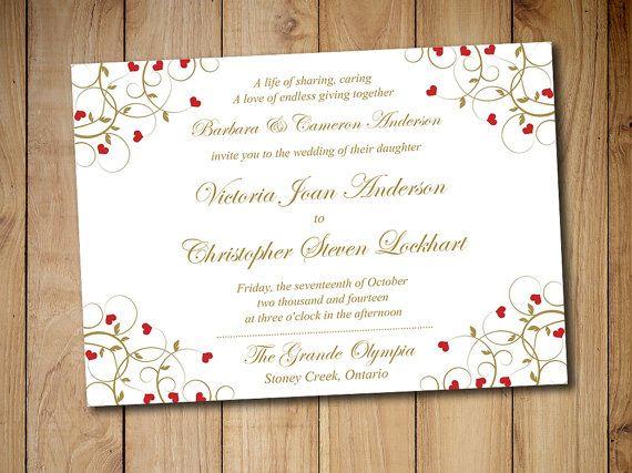 heart wedding invitation template printable vintage wedding