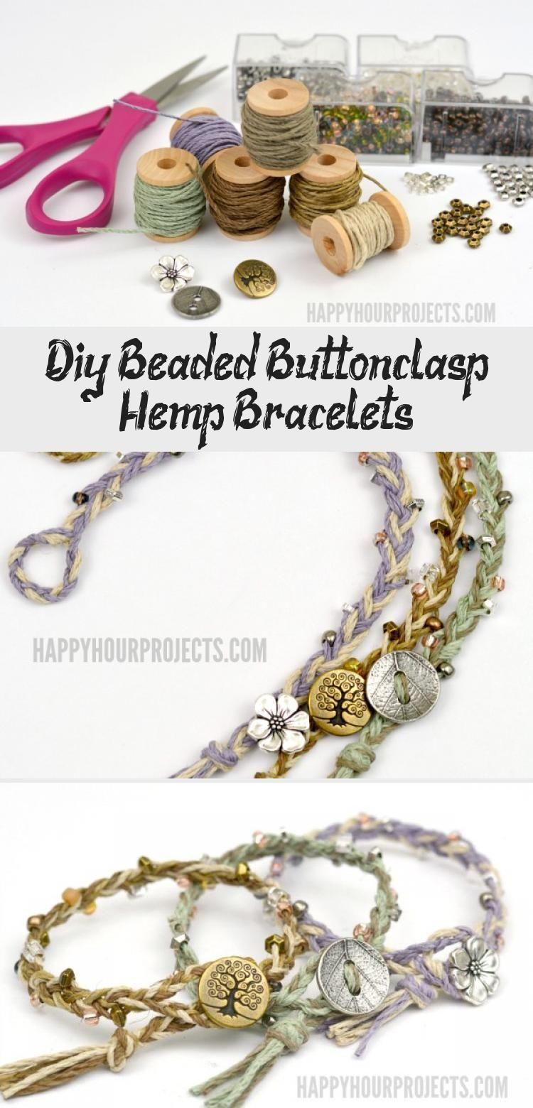 DIY Beaded Button-Clasp Hemp Bracelets | Easy braided DIY bracelets on the cheap...,  #beaded #Bracelets #braided #ButtonClasp #cheap #DIY #diybraceletsbeadseasyhowtomake #Easy #Hemp