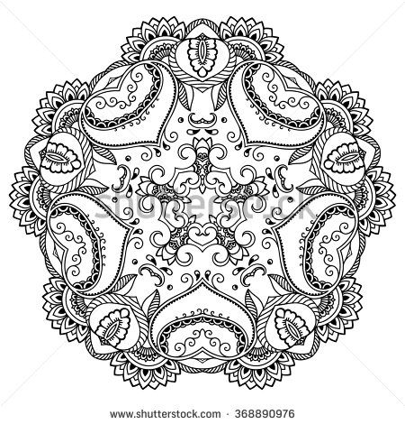 Vector henna tattoo mandala. Mehndi style. | Tattoo designs ...