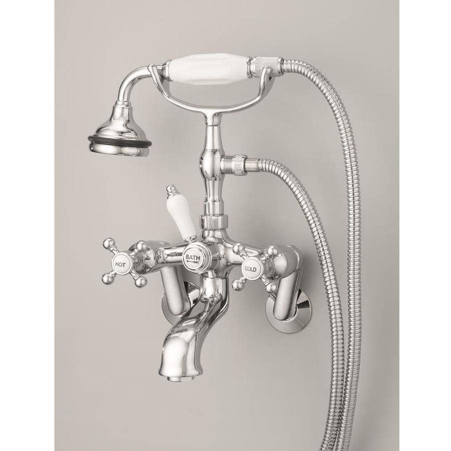 Cheviot Polished Nickel 3 Handle Bathtub And Shower Faucet With